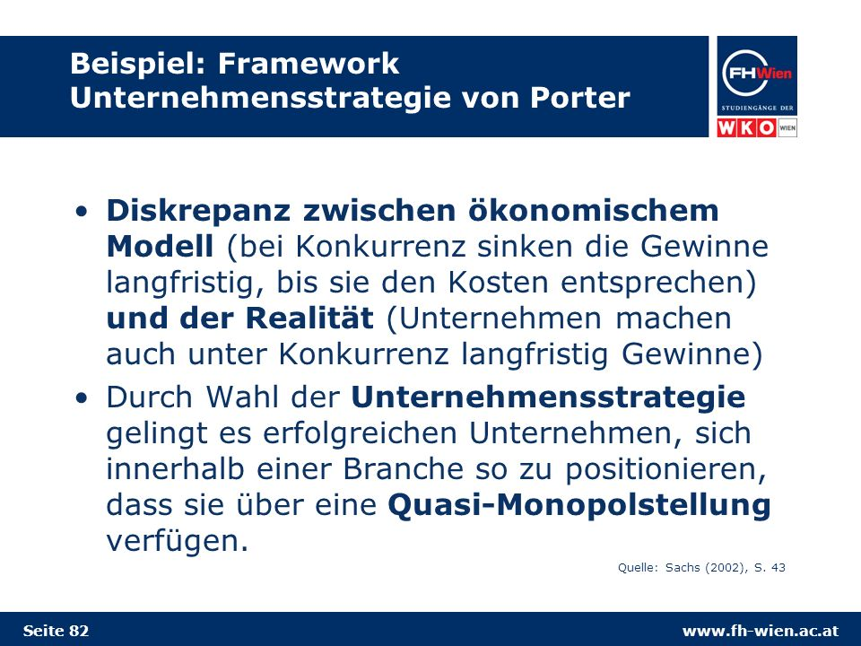 Beispiel: Framework Unternehmensstrategie von Porter