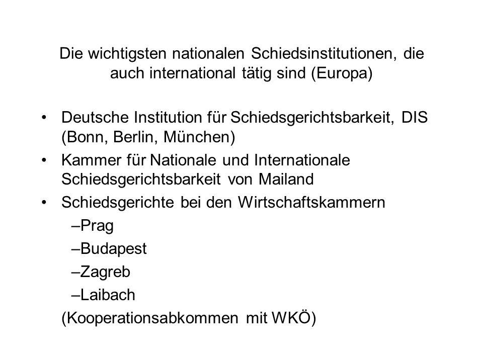 Die wichtigsten nationalen Schiedsinstitutionen, die auch international tätig sind (Europa)