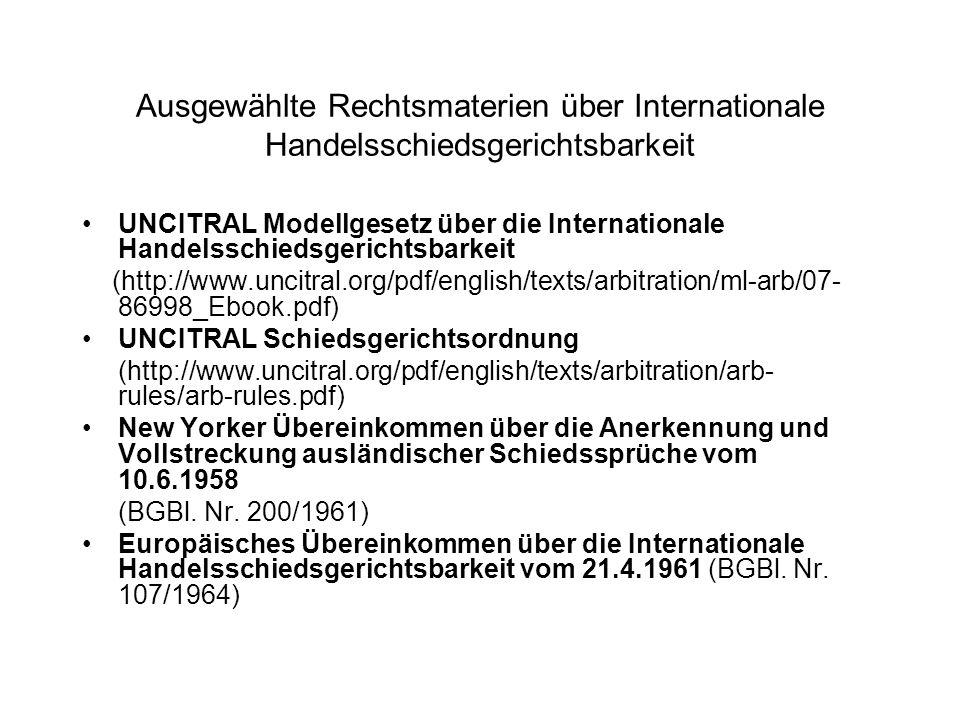 Ausgewählte Rechtsmaterien über Internationale Handelsschiedsgerichtsbarkeit