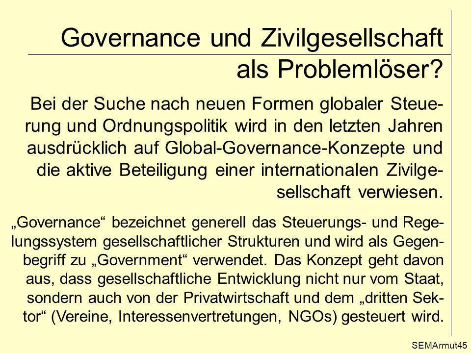 Governance und Zivilgesellschaft als Problemlöser