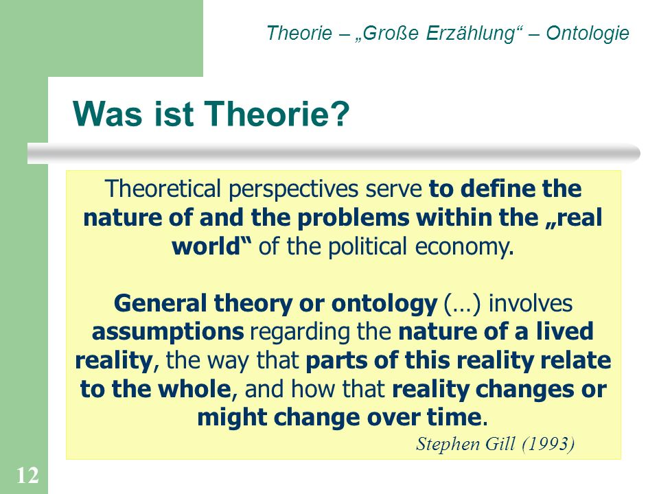 "Theorie – ""Große Erzählung – Ontologie"