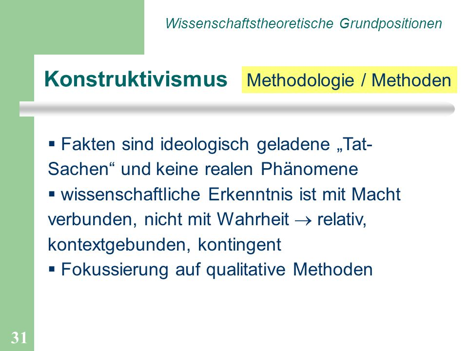 Konstruktivismus Methodologie / Methoden