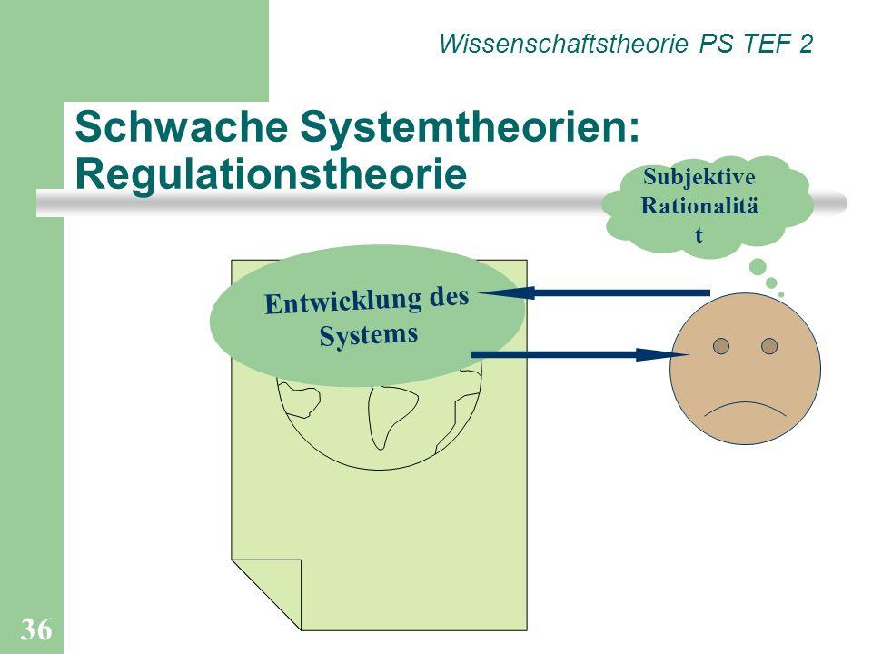 Schwache Systemtheorien: Regulationstheorie