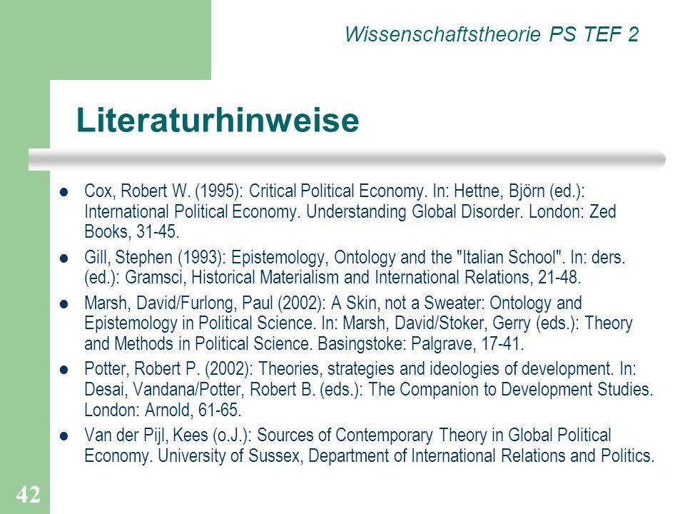 Literaturhinweise Wissenschaftstheorie PS TEF 2