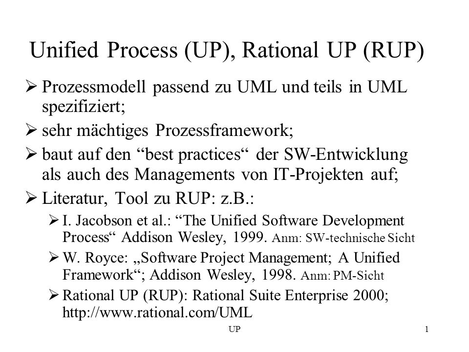 Unified Process (UP), Rational UP (RUP)