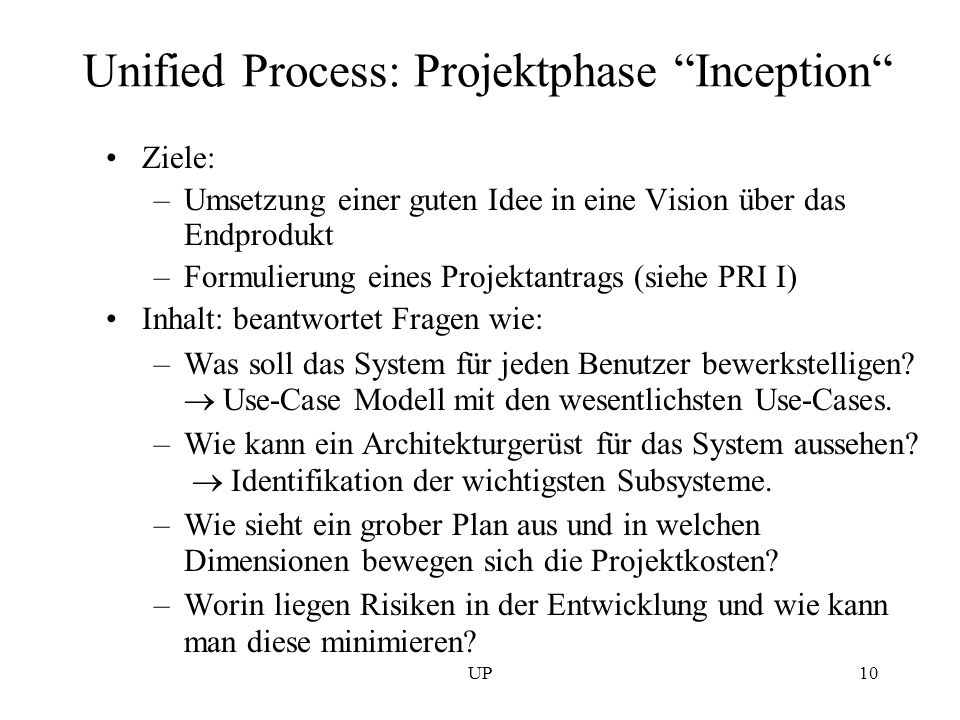 Unified Process: Projektphase Inception