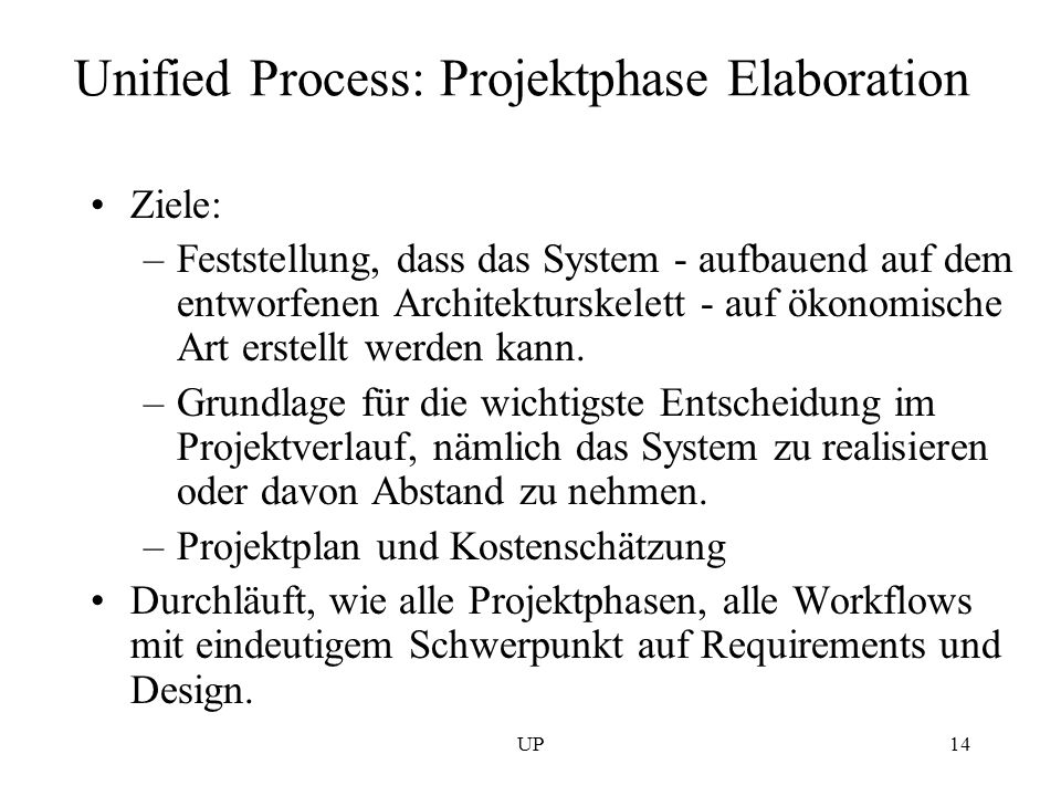 Unified Process: Projektphase Elaboration