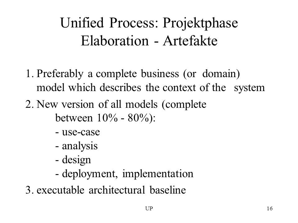 Unified Process: Projektphase Elaboration - Artefakte