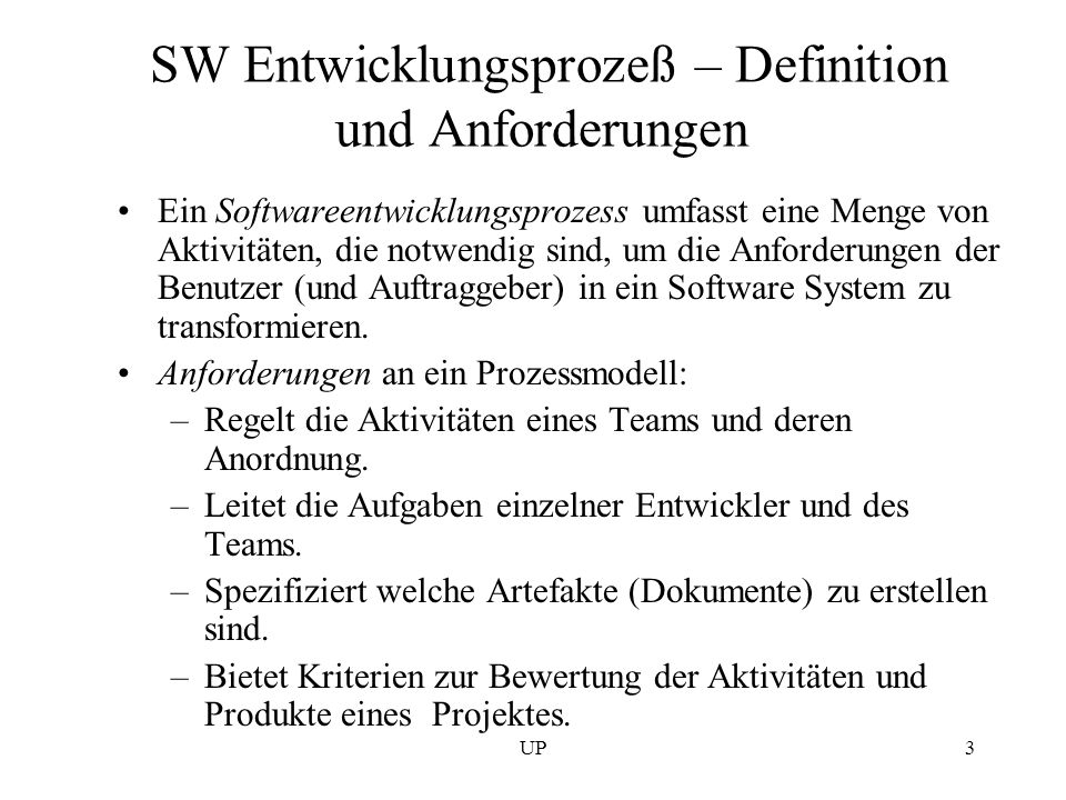 SW Entwicklungsprozeß – Definition und Anforderungen