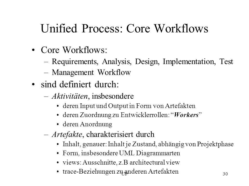 Unified Process: Core Workflows