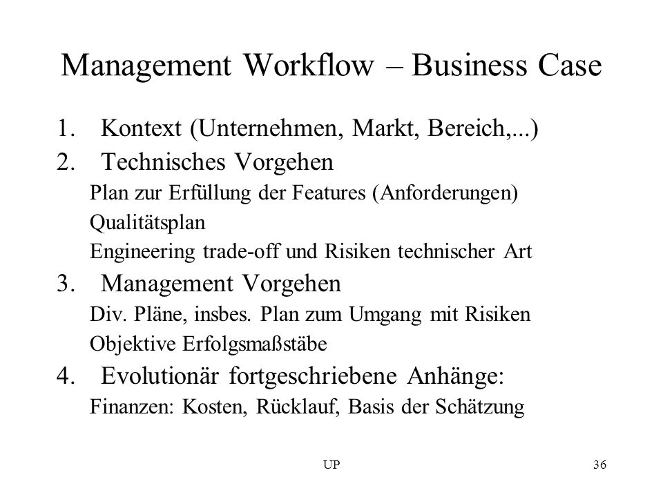Management Workflow – Business Case
