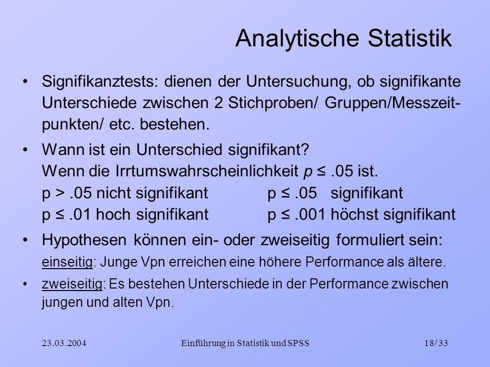 Analytische Statistik