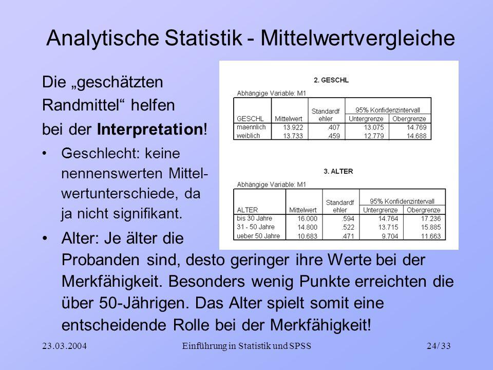 Analytische Statistik - Mittelwertvergleiche