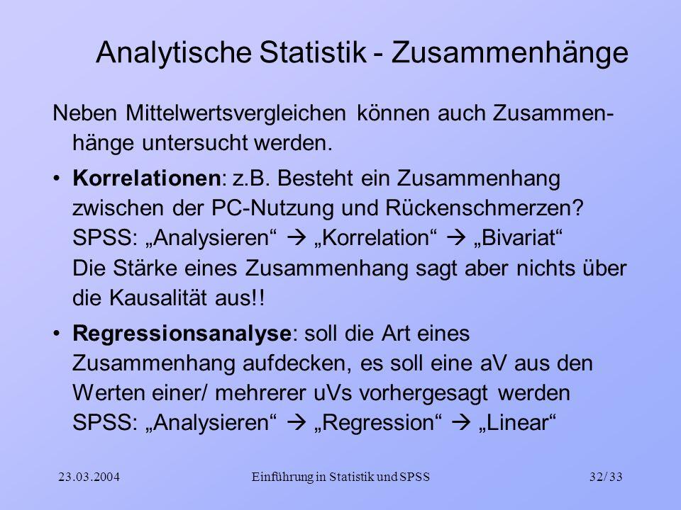 Analytische Statistik - Zusammenhänge