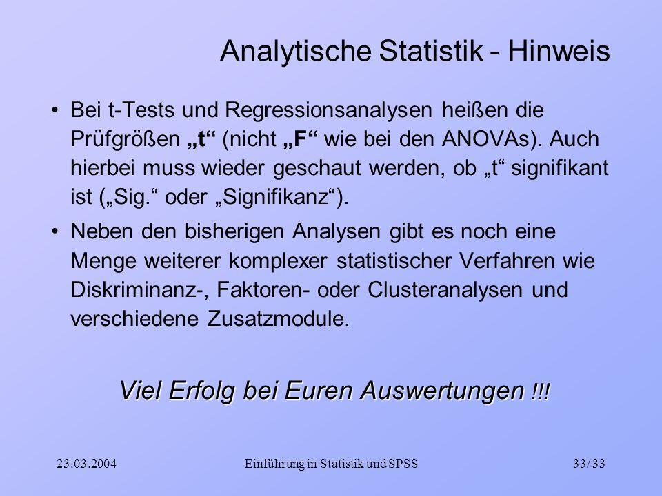 Analytische Statistik - Hinweis