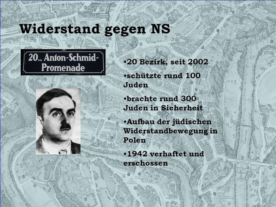 Widerstand gegen NS 20 Bezirk, seit 2002 schützte rund 100 Juden