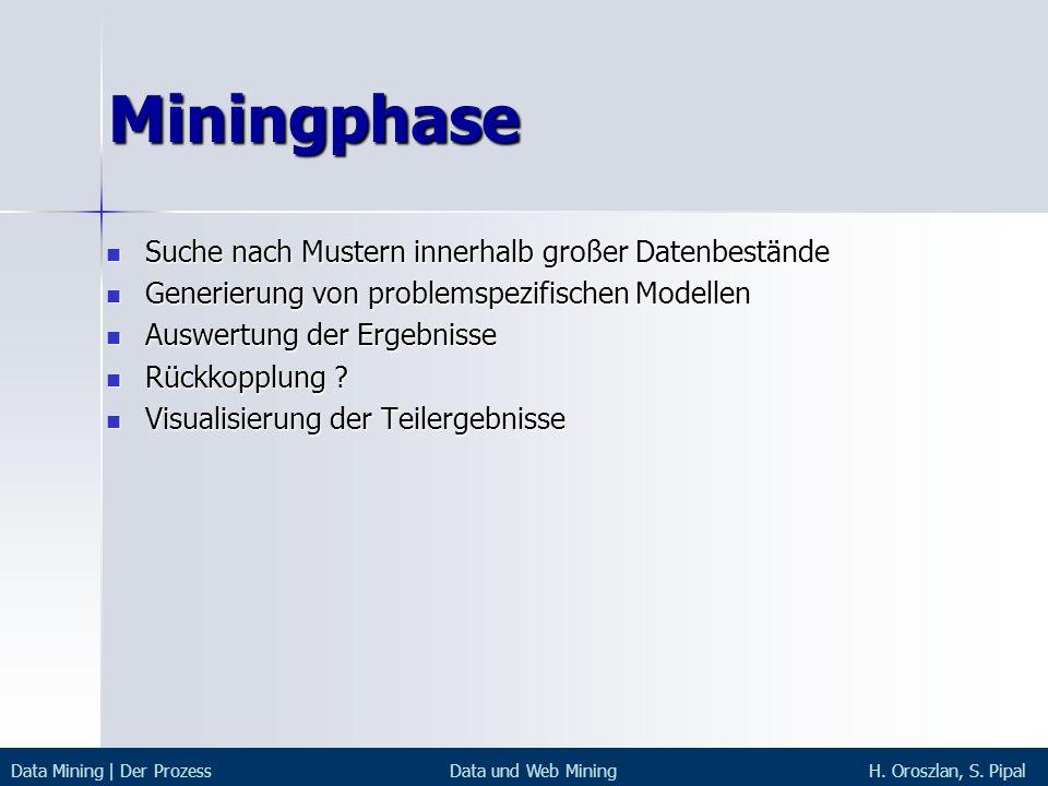 Miningphase Suche nach Mustern innerhalb großer Datenbestände