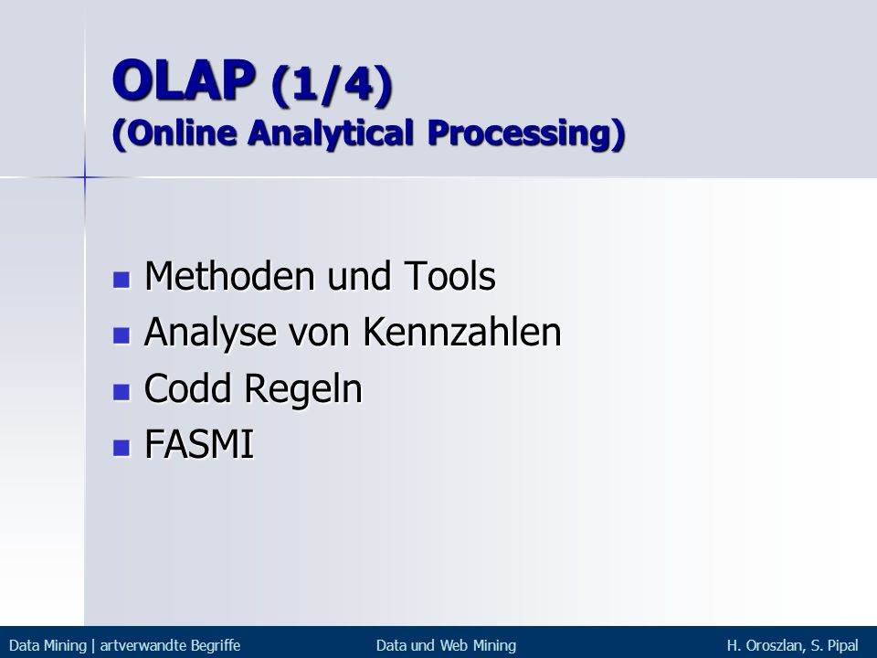 OLAP (1/4) (Online Analytical Processing)