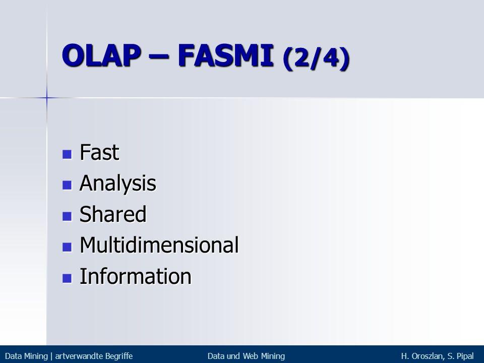 OLAP – FASMI (2/4) Fast Analysis Shared Multidimensional Information