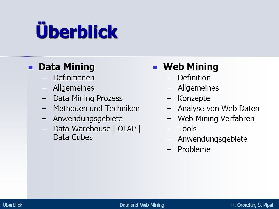 Überblick Data Mining Web Mining Definitionen Allgemeines
