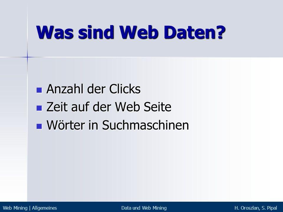 Was sind Web Daten Anzahl der Clicks Zeit auf der Web Seite