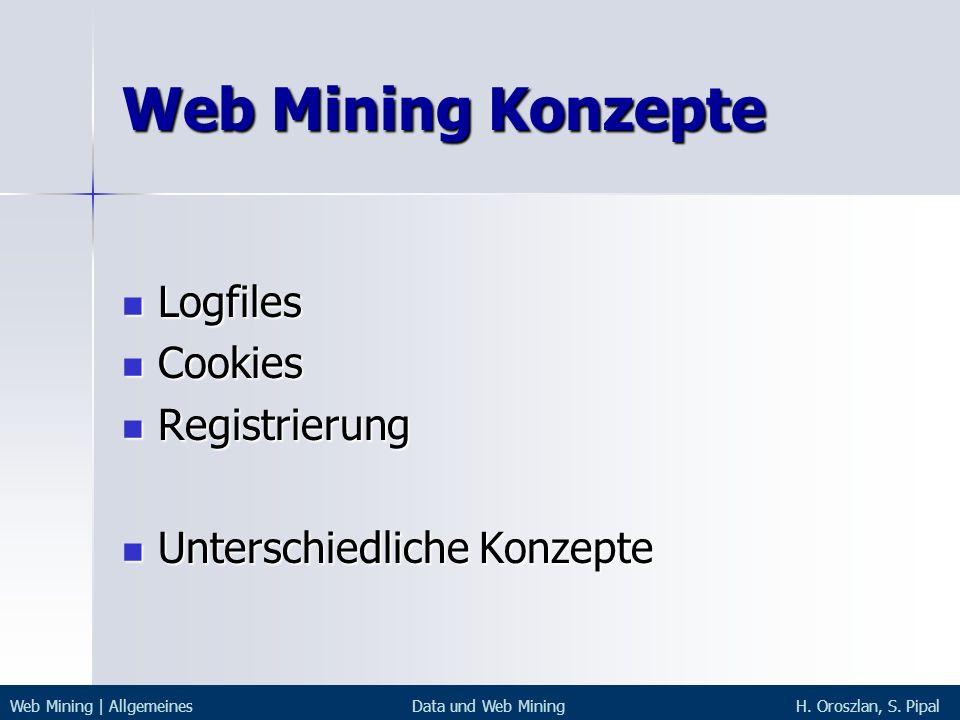 Web Mining Konzepte Logfiles Cookies Registrierung
