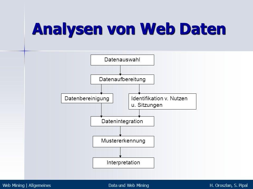 Analysen von Web Daten Datenauswahl Datenaufbereitung Datenbereinigung
