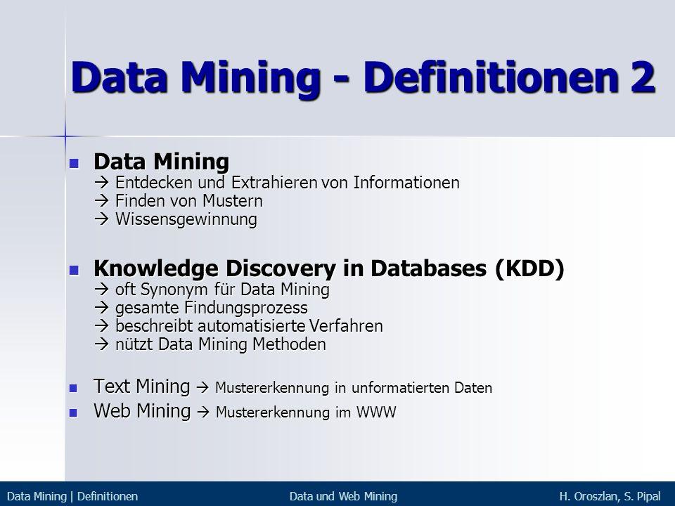 Data Mining - Definitionen 2
