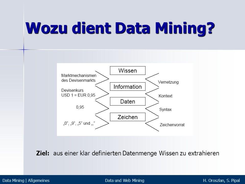 Wozu dient Data Mining Ziel: aus einer klar definierten Datenmenge Wissen zu extrahieren. Data Mining | Allgemeines.