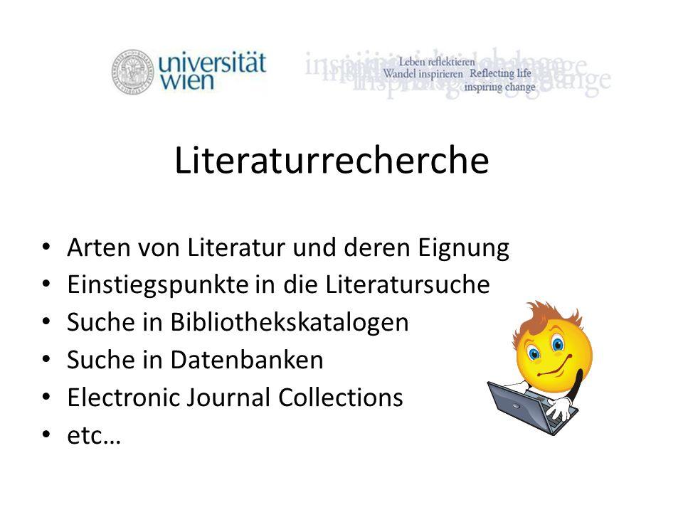 Literaturrecherche Arten von Literatur und deren Eignung
