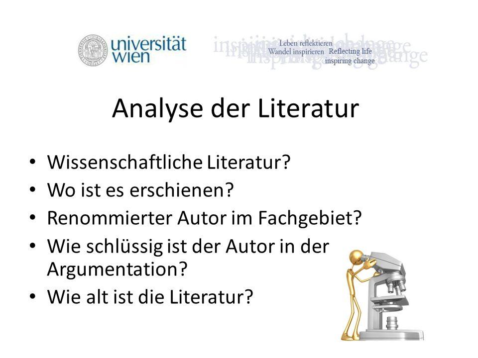 Analyse der Literatur Wissenschaftliche Literatur