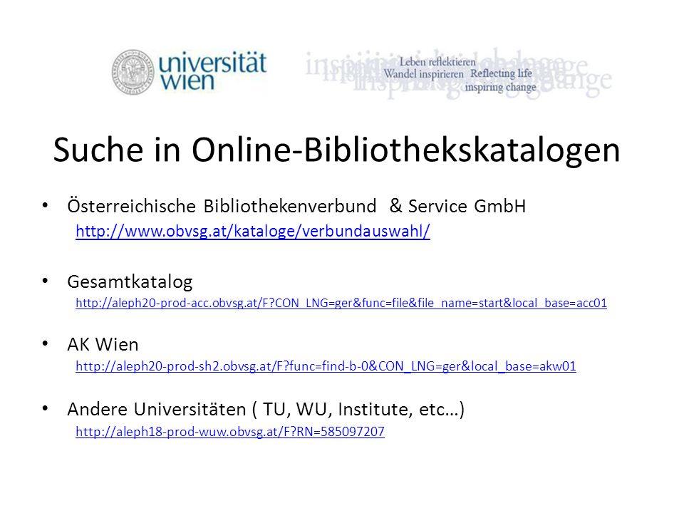 Suche in Online-Bibliothekskatalogen