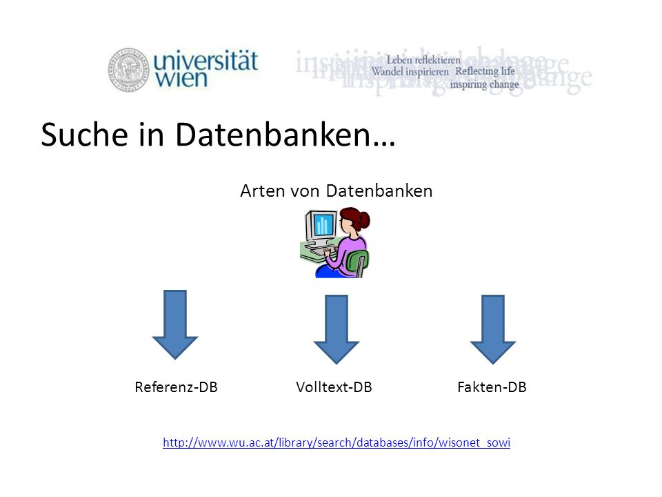 Suche in Datenbanken… Arten von Datenbanken Referenz-DB Volltext-DB