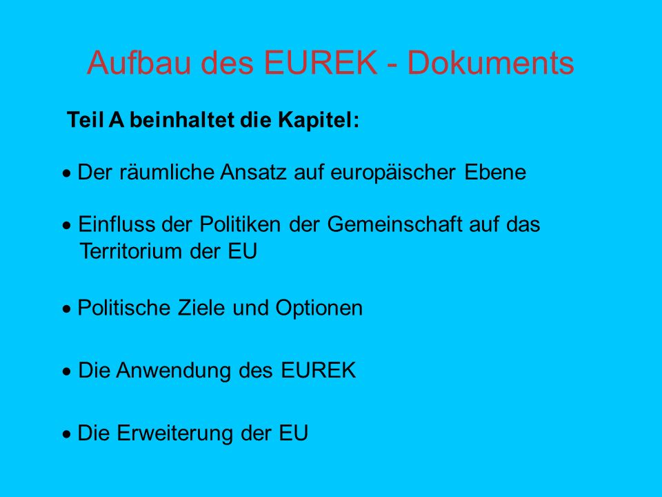 Aufbau des EUREK - Dokuments
