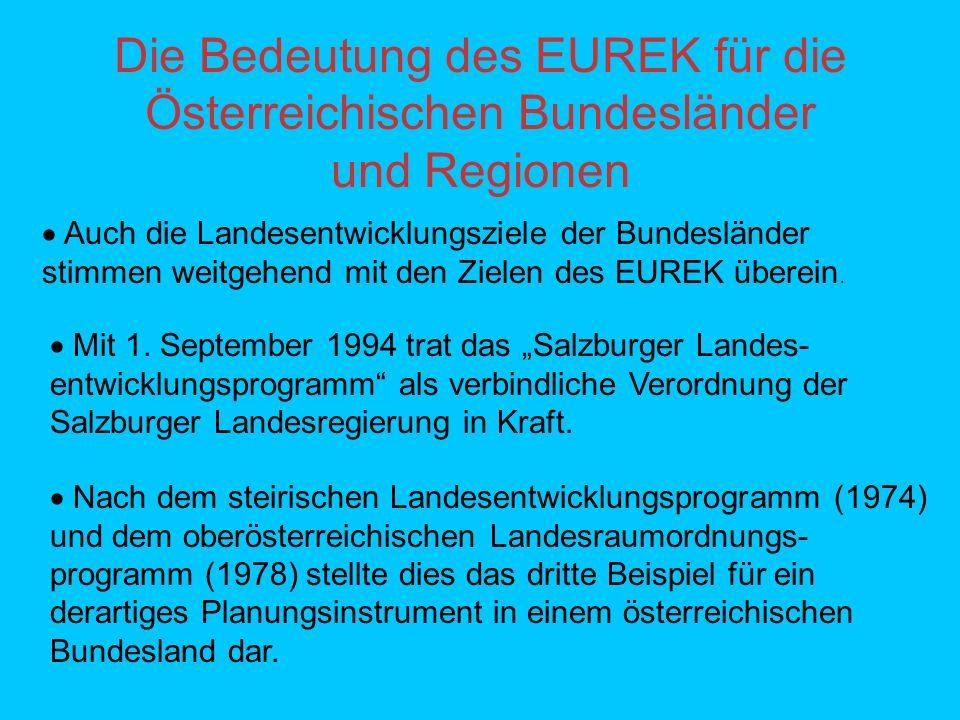 Die Bedeutung des EUREK für die Österreichischen Bundesländer und Regionen