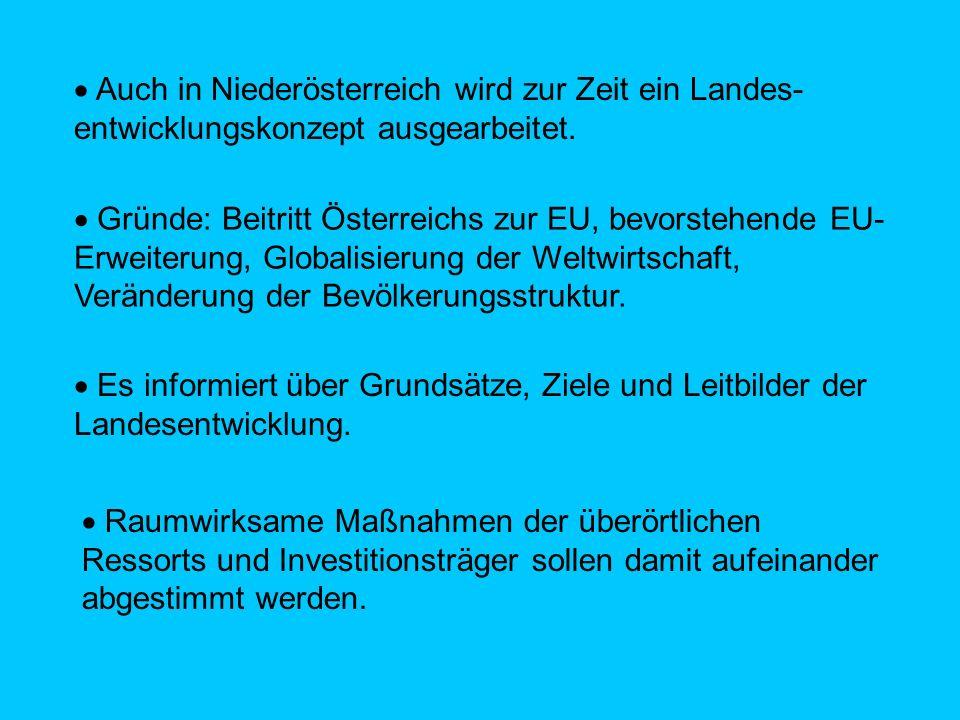  Auch in Niederösterreich wird zur Zeit ein Landes-entwicklungskonzept ausgearbeitet.