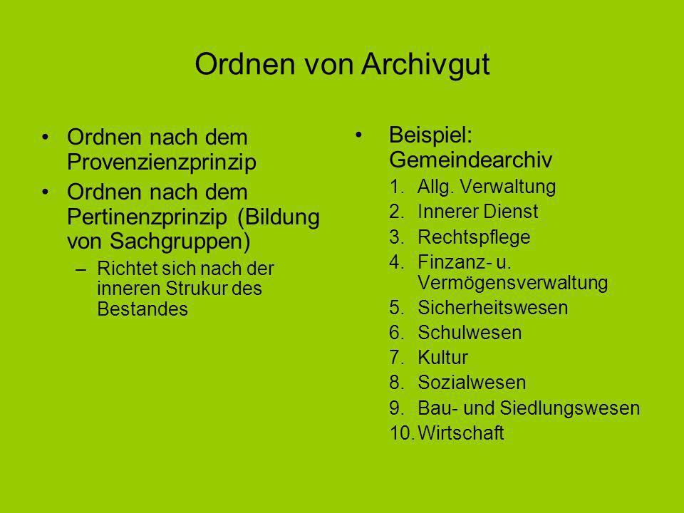Ordnen von Archivgut Ordnen nach dem Provenzienzprinzip