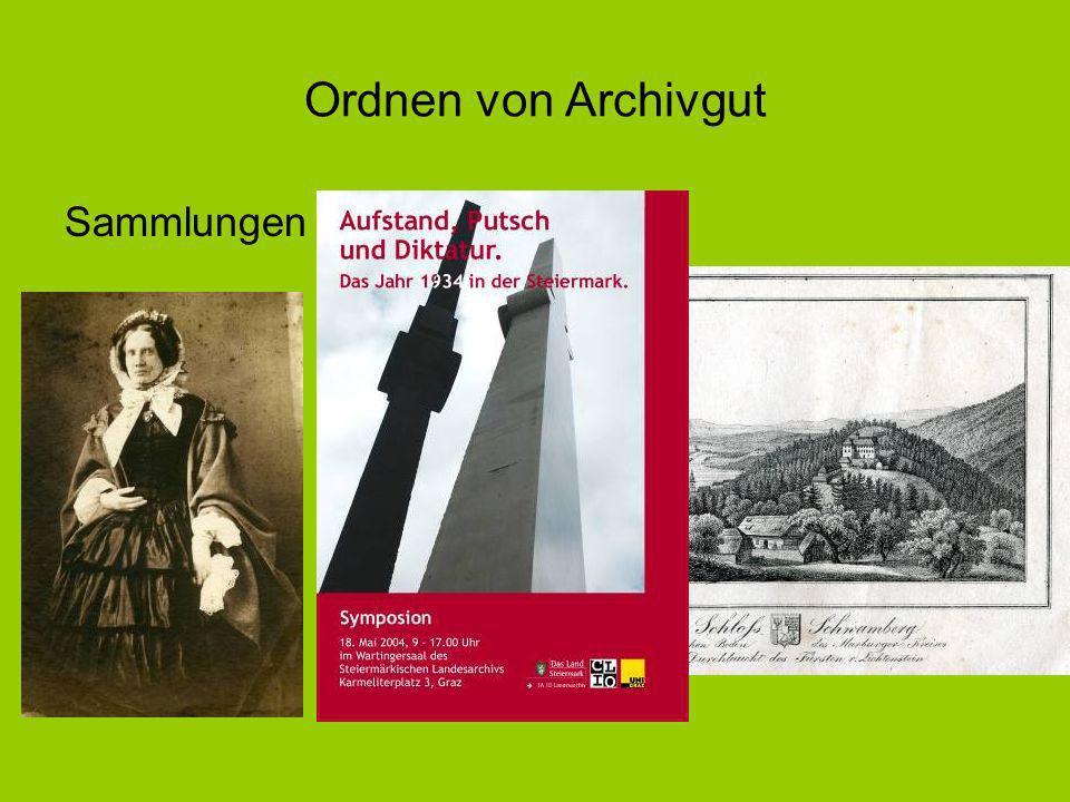 Ordnen von Archivgut Sammlungen