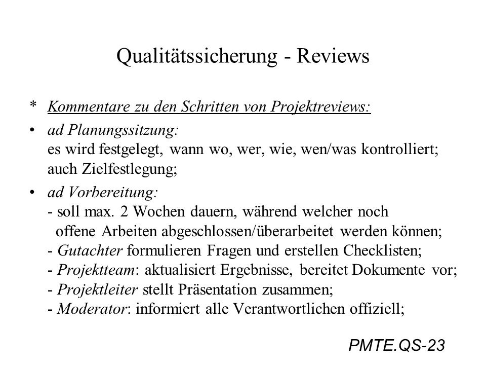 Qualitätssicherung - Reviews