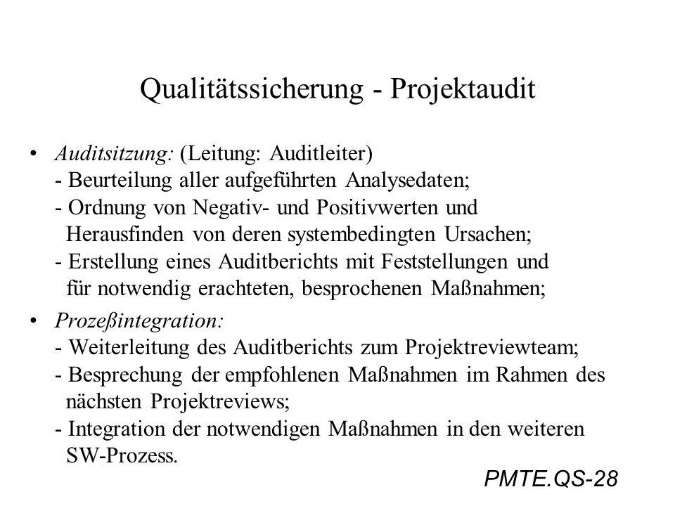 Qualitätssicherung - Projektaudit