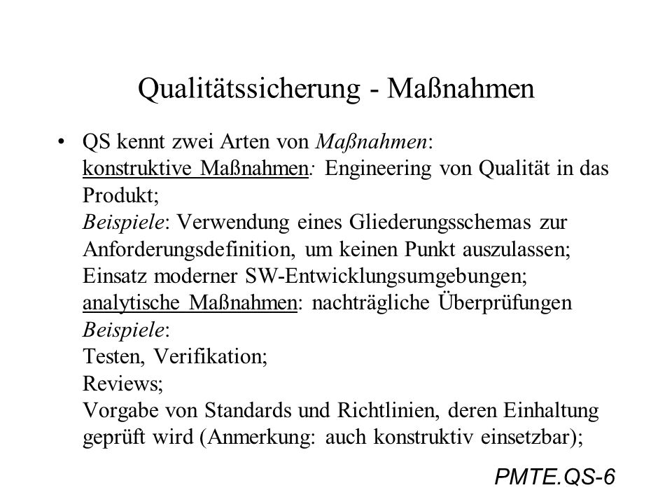 Qualitätssicherung - Maßnahmen