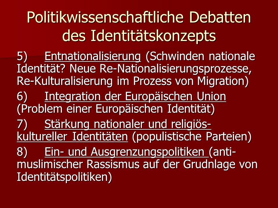 Politikwissenschaftliche Debatten des Identitätskonzepts