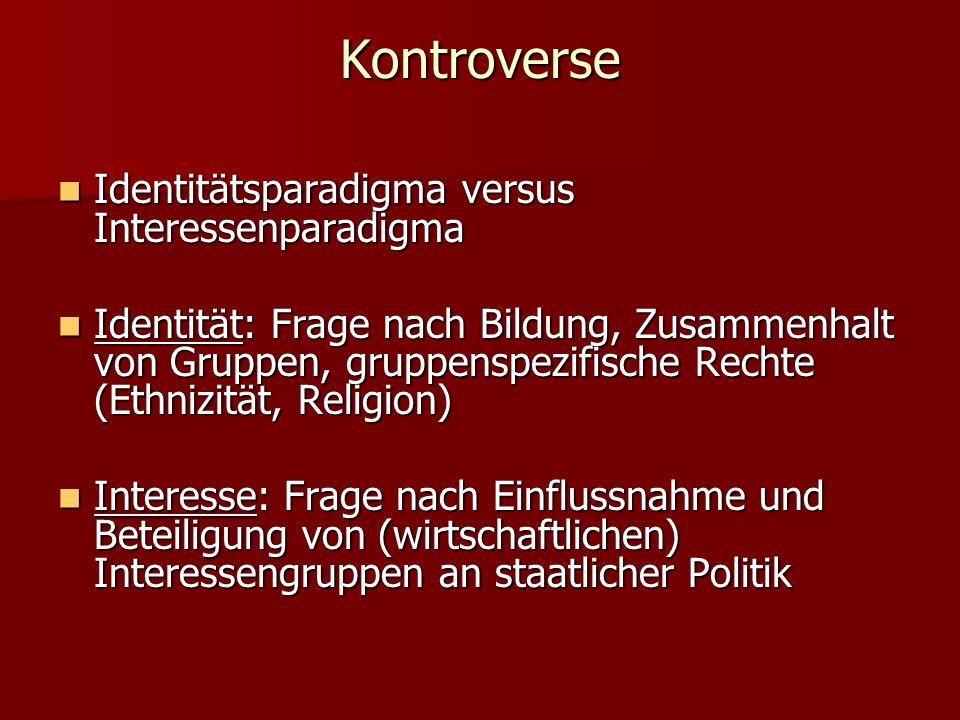 Kontroverse Identitätsparadigma versus Interessenparadigma