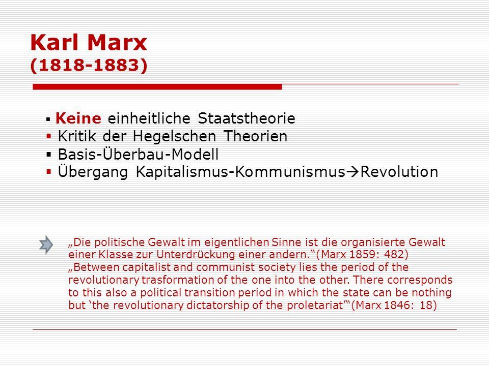 Karl Marx (1818-1883) Kritik der Hegelschen Theorien