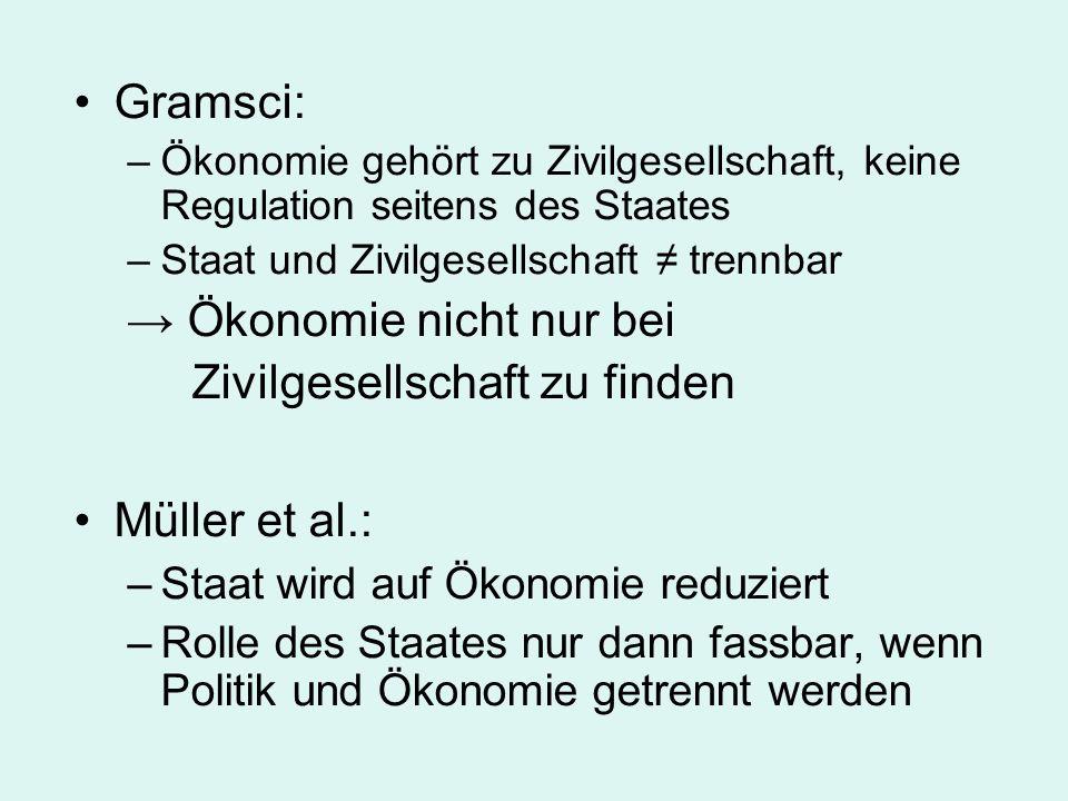 → Ökonomie nicht nur bei Zivilgesellschaft zu finden Müller et al.: