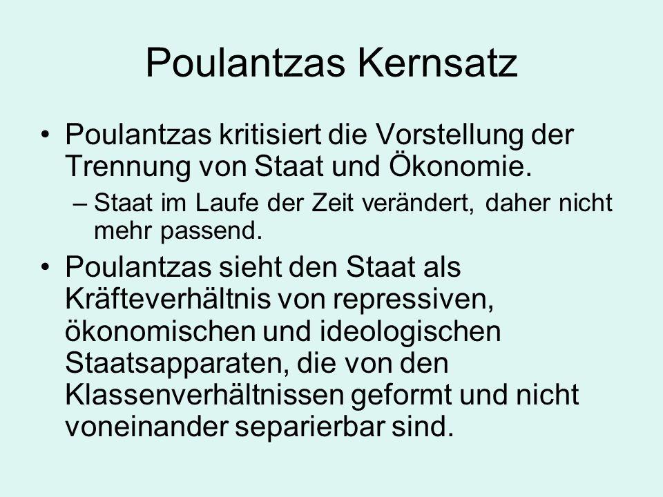 Poulantzas KernsatzPoulantzas kritisiert die Vorstellung der Trennung von Staat und Ökonomie.