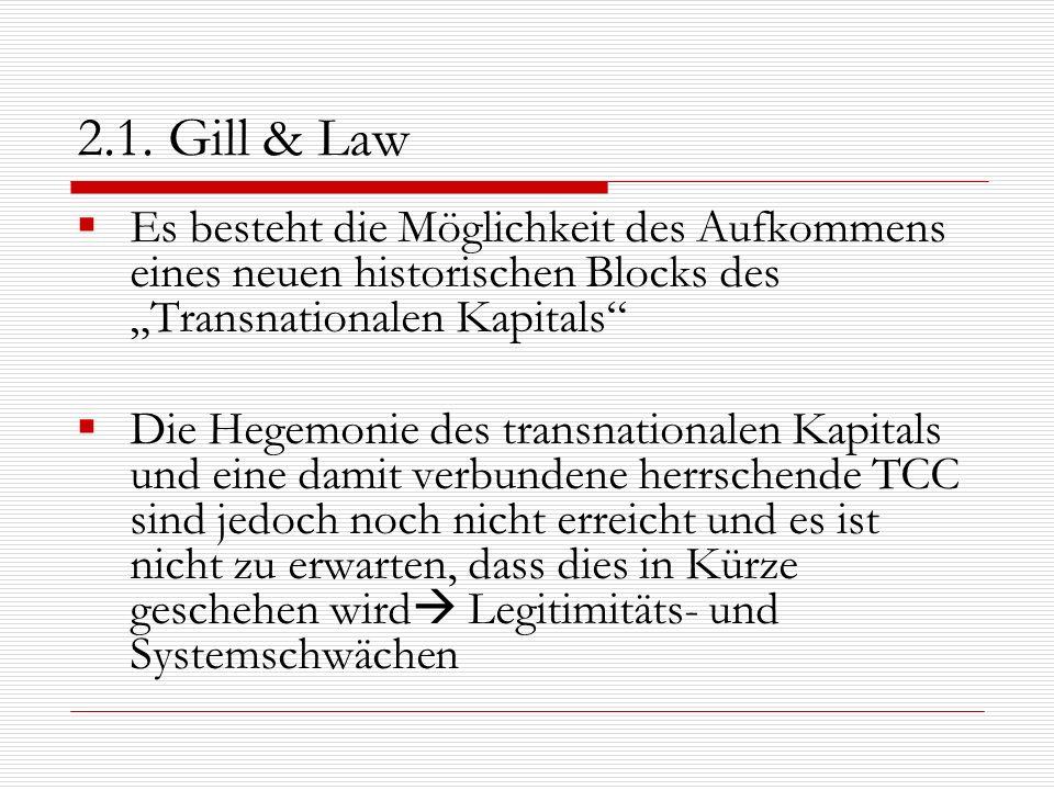 """2.1. Gill & LawEs besteht die Möglichkeit des Aufkommens eines neuen historischen Blocks des """"Transnationalen Kapitals"""