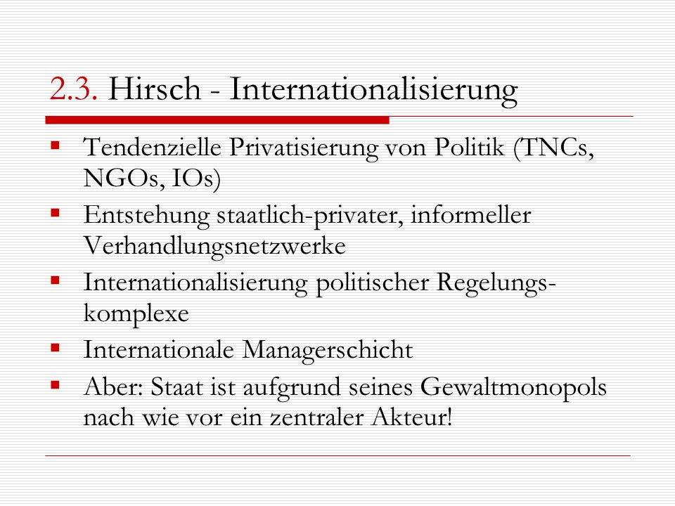 2.3. Hirsch - Internationalisierung