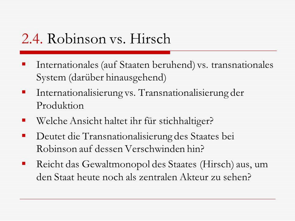 2.4. Robinson vs. HirschInternationales (auf Staaten beruhend) vs. transnationales System (darüber hinausgehend)