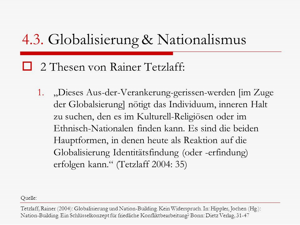 4.3. Globalisierung & Nationalismus